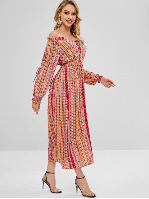 Vestido largo con hombros descubiertos y aberturas - Multicolor L Mobile