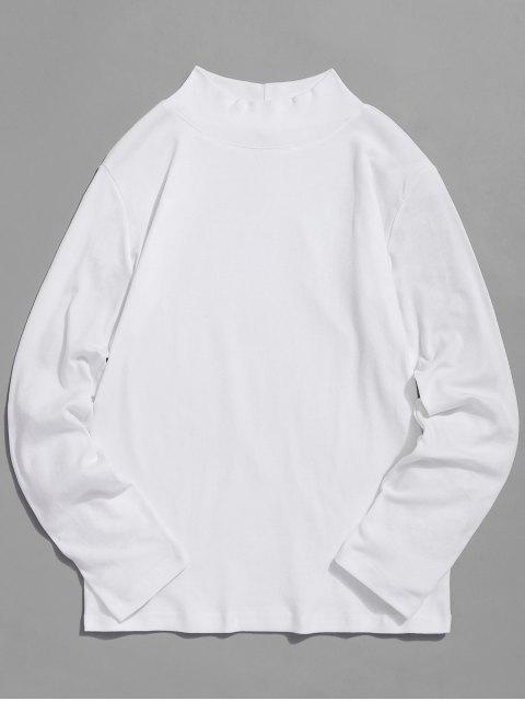 Camiseta básica de cuello alto sólido - Blanco L Mobile