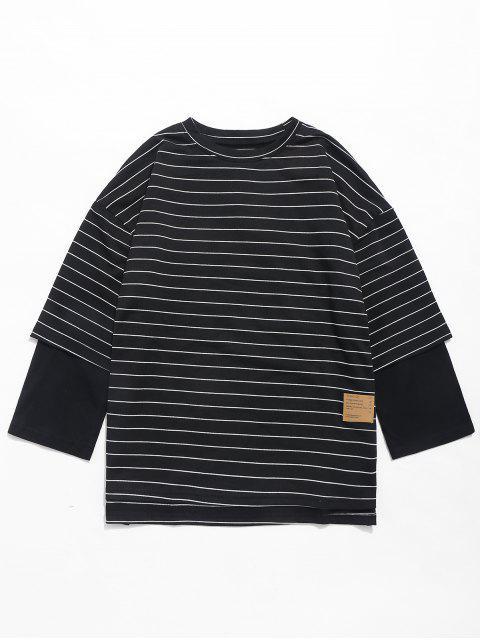 women Striped False Two Piece T-shirt - BLACK XL Mobile