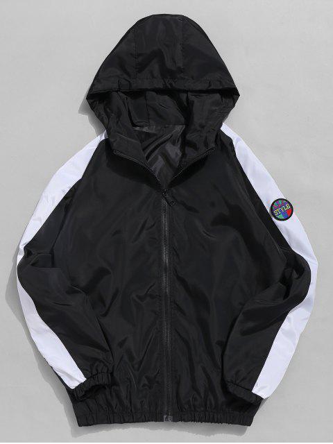 fancy Applique Contrast Windbreaker Jacket - BLACK XL Mobile