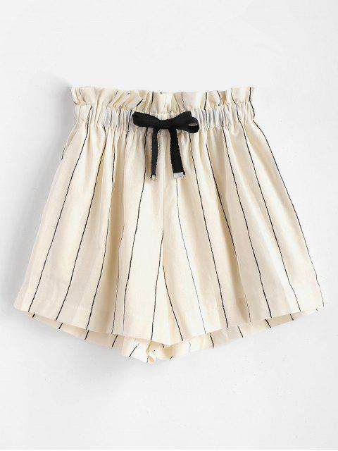 shop Drawstring Pinstripe Shorts - WARM WHITE S Mobile