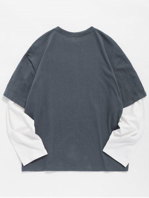 Camiseta falsa de dos piezas con estampado de rosas - Gris Oscuro 2XL Mobile