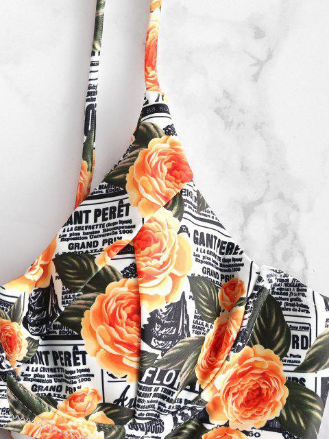 fashion ZAFUL Letter Floral Underwire Bikini Set - MULTI-A L Mobile