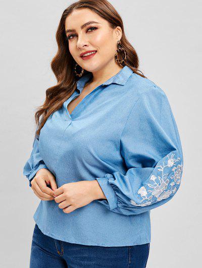 c64c5c3b585 V Neck Floral Embroidered Plus Size Blouse - Denim Blue - Denim Blue 4x ...