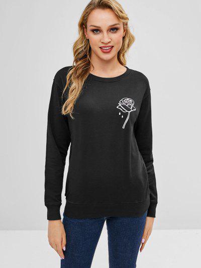d0357703f200e0 Rose Graphic Sweatshirt - Black S