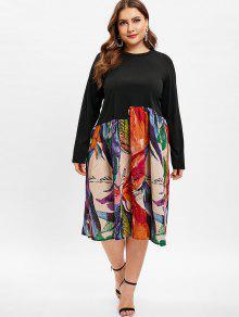 فستان خط مطبوع زائد حجم - متعدد 3x