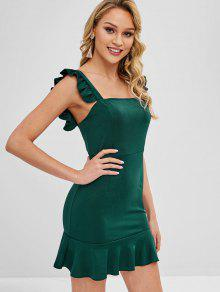 Ruffled Mini Party Dress - Deep Green S
