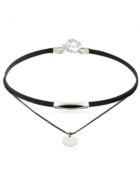 women Leather Chain Double Layered Choker Necklace - SILVER