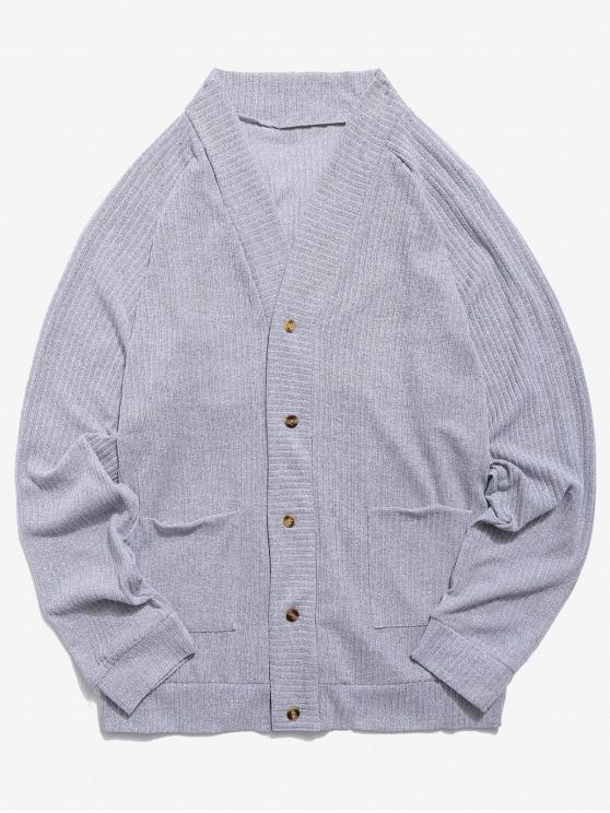 hot Solid Pocket Button Up Thin Sweater - LIGHT GRAY XS