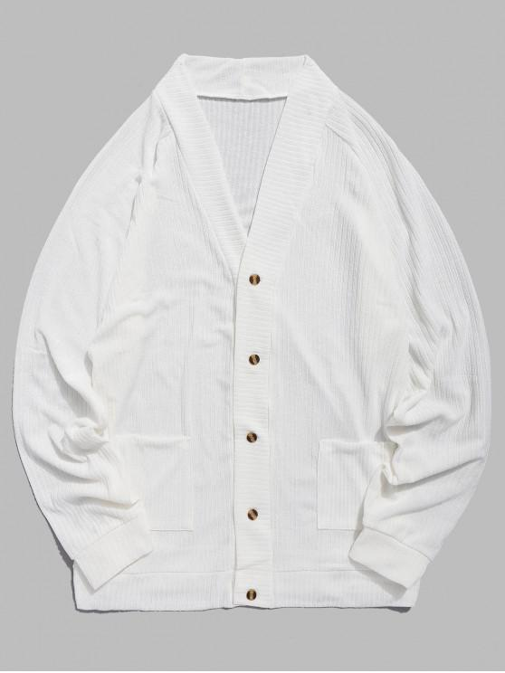 trendy Solid Pocket Button Up Thin Sweater - WHITE S