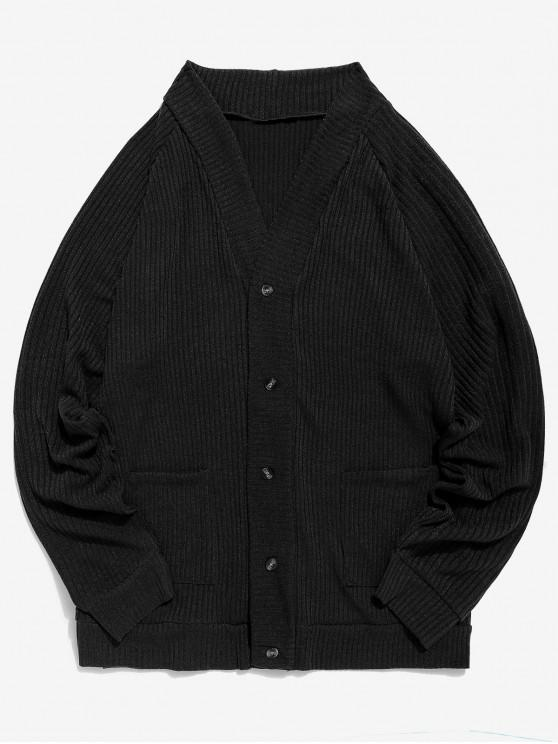 outfit Solid Pocket Button Up Thin Sweater - BLACK M