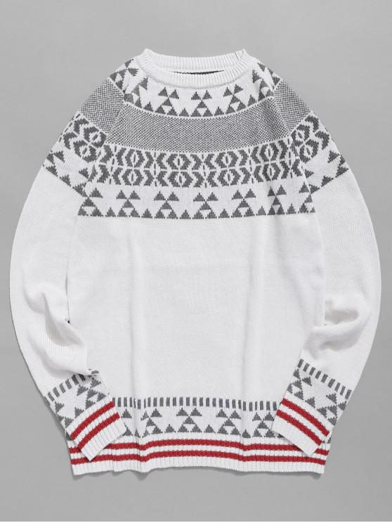 women's Geometric Pattern Knit Pullover Sweater - WHITE XS