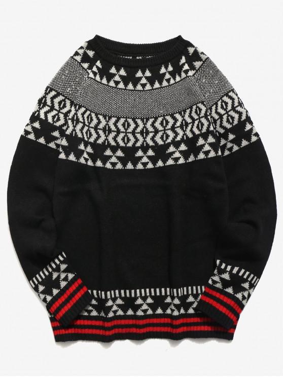 Maglione Pullover Con Motivo Geometrico - Nero S