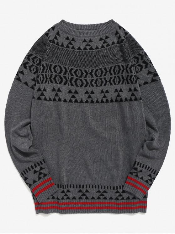 ladies Geometric Pattern Knit Pullover Sweater - GRAY S