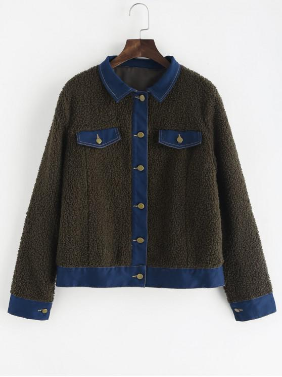 women's Faux Pockets Faux Fur Jacket - ARMY GREEN M