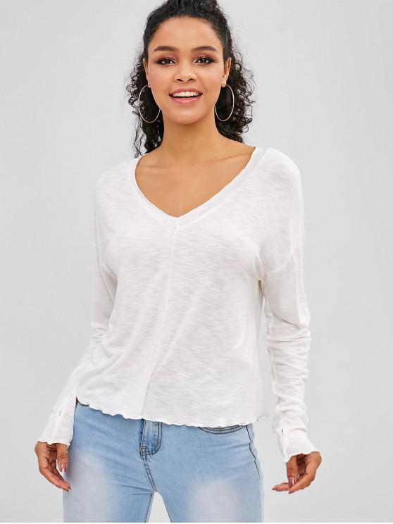 new ZAFUL Lettuce Plunge Drop Shoulder Tee - WHITE S