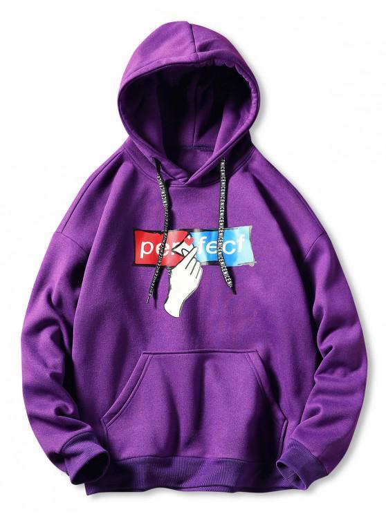 Caer hombro mano y letra de impresión con capucha - Púrpura 2XL