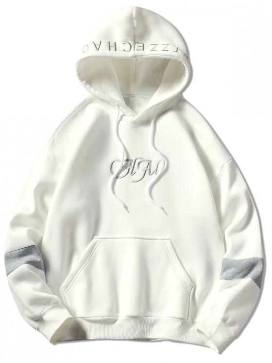 巾着文字刺繍パーカー - 白 XL