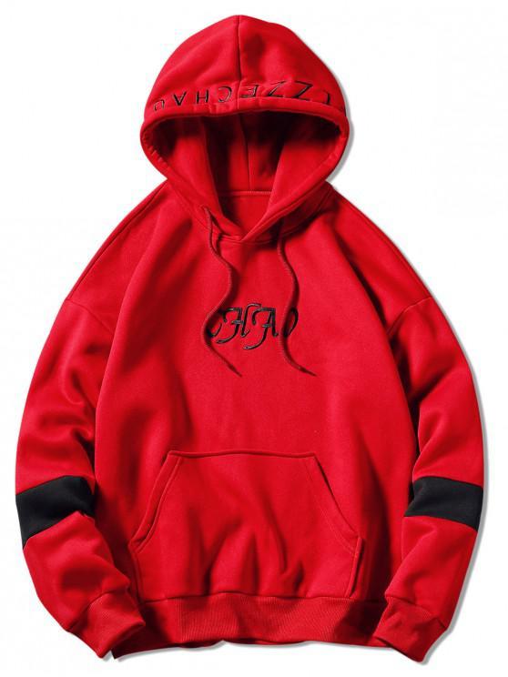 Sudadera con capucha bordada de la letra del lazo - Rojo 3XL