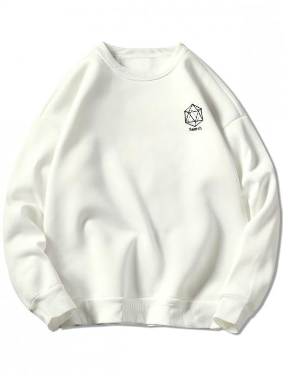 shop Geometrical Embroidery Graphic Sweatshirt - WHITE 2XL