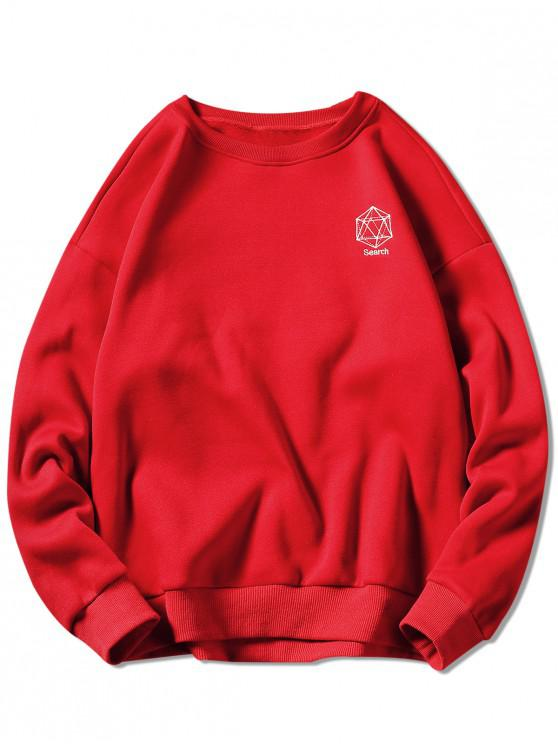 outfit Geometrical Embroidery Graphic Sweatshirt - RED 3XL