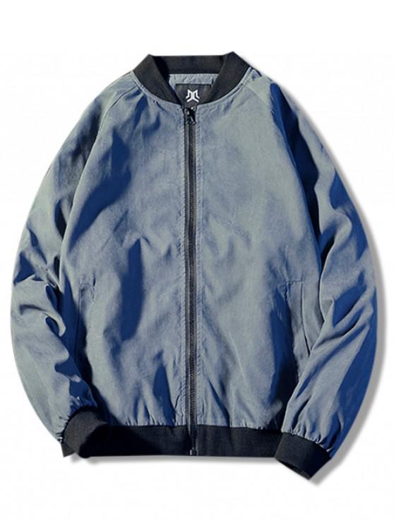 affordable Zip Up Back Patterned Jacket - BLUE M