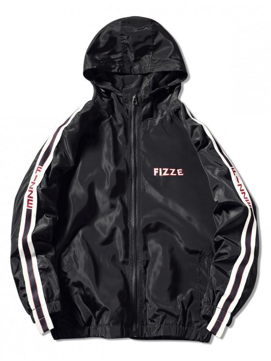 shops Contrast Trim Hooded Graphic Jacket - BLACK 3XL