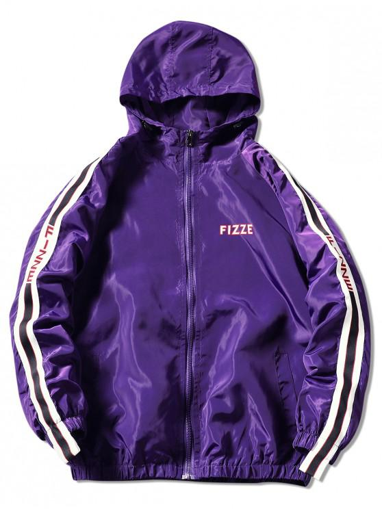 Chaqueta con capucha y gráfico de contraste - Púrpura 2XL