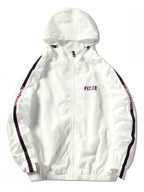 buy Contrast Trim Hooded Graphic Jacket - WHITE 2XL
