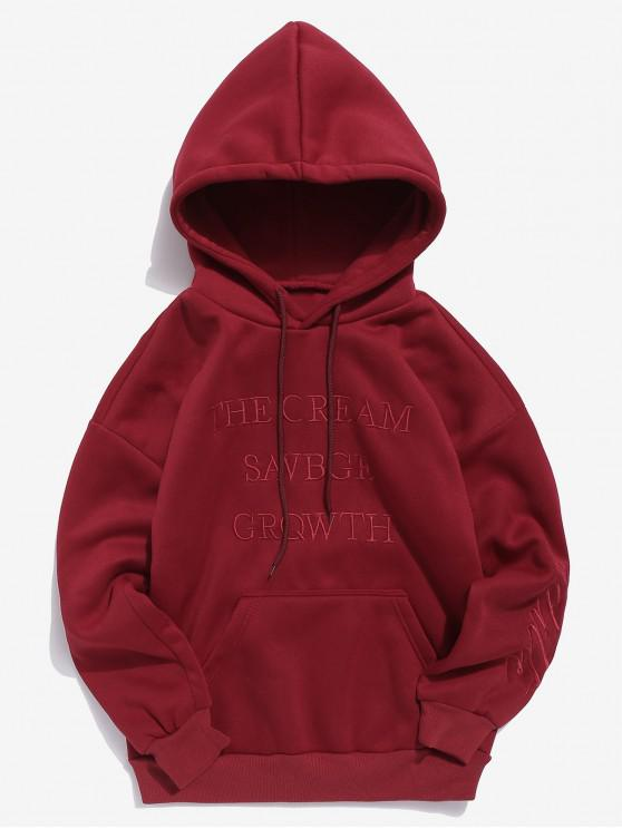 lady Solid Embroidery Letter Fleece Hoodie - RED XS