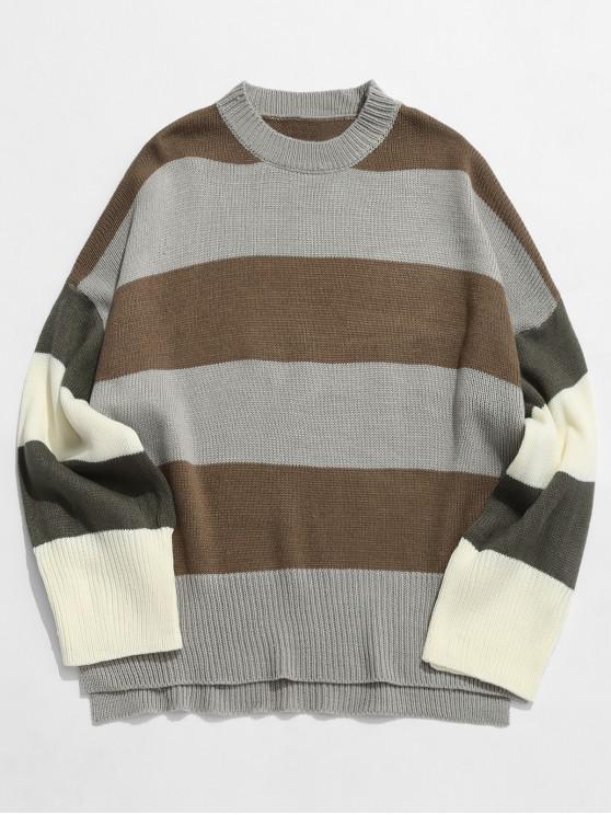 Maglione Pullover A Righe In Contrasto - Cachi S
