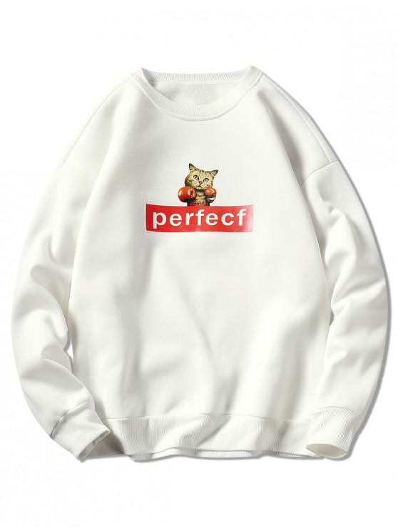 latest Cat and Letter Print Drop Shoulder Sweatshirt - WHITE 2XL