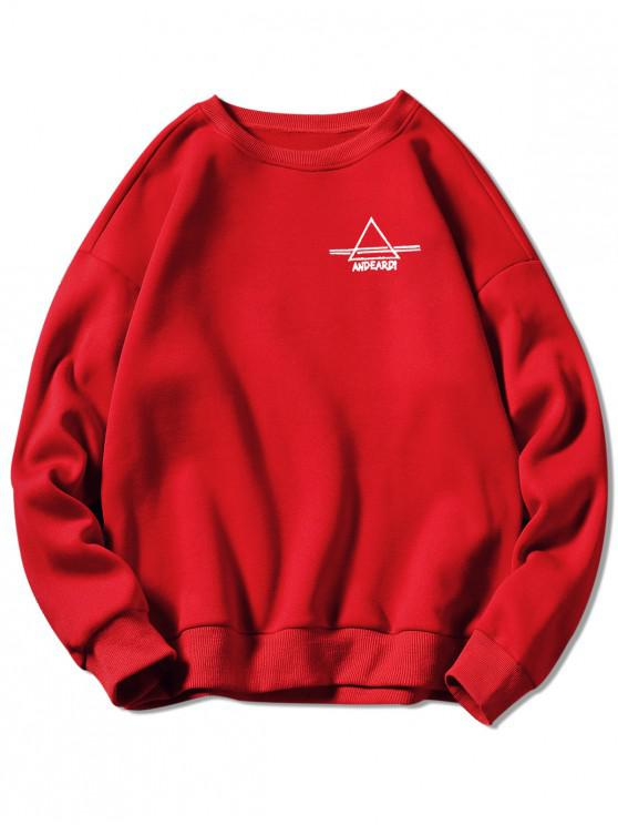 305734838 28% OFF] 2019 Crew Neck Letter Embroidered Graphic Sweatshirt In RED ...
