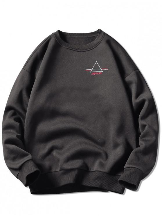 クルーネックレター刺繍グラフィックスウェットシャツ - 暗灰色 2XL