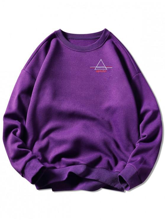 shop Crew Neck Letter Embroidered Graphic Sweatshirt - PURPLE M