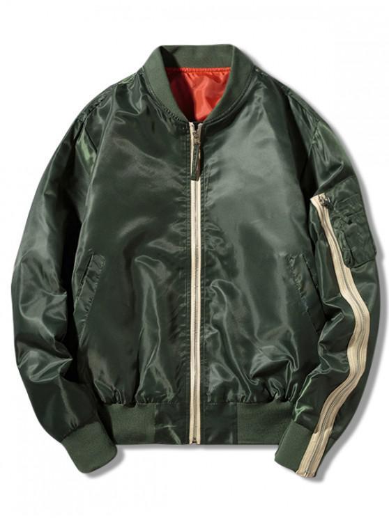 buy Contrast Zipper Letter Print Bomber Jacket - GREEN M