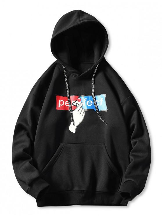 outfit Drop Shoulder Hand and Letter Print Hoodie - BLACK 3XL