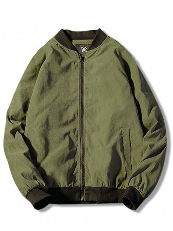 ladies Zip Up Back Patterned Jacket - ARMY GREEN M