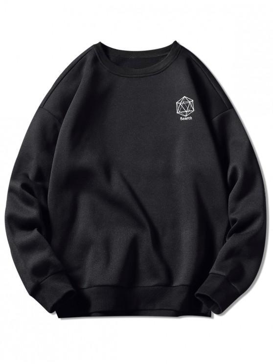 Geometrisches Stickerei-Grafik-Sweatshirt - Schwarz 2XL