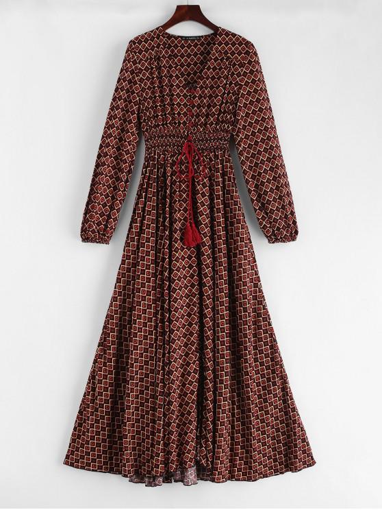 womens ZAFUL Ethnic Print Slit Long Sleeve Dress - MULTI L