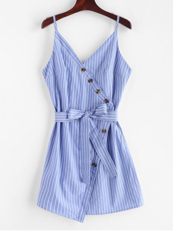 ZAFUL Buttoned Stripes Cami Dress - Koi Azul S