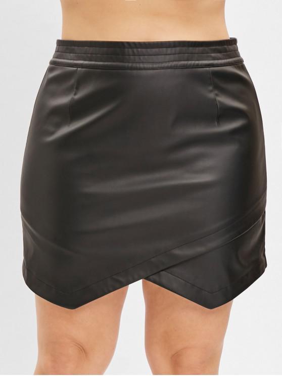 Zaful Plus Size Faux Leather Mini Saia - Preto 4X