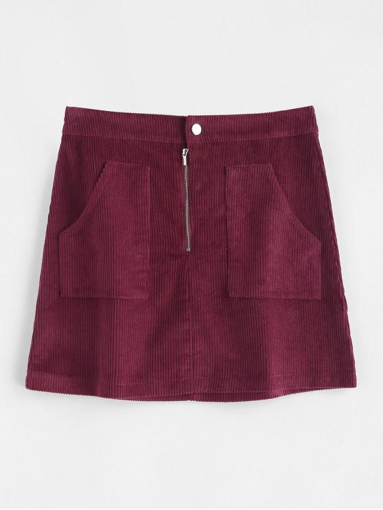 women's Half Zip Plain Corduroy Skirt - RED WINE M