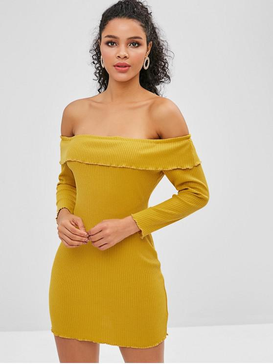 shop ZAFUL Overlay Ribbed Off Shoulder Dress - GOLDEN BROWN M