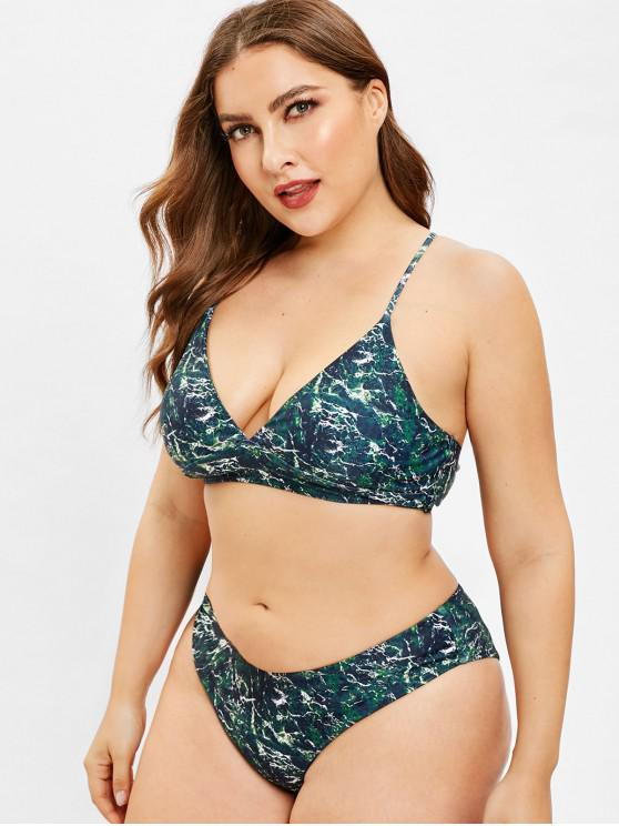 affordable ZAFUL Plus Size Marble Criss Cross Bikini Set - MULTI-A L