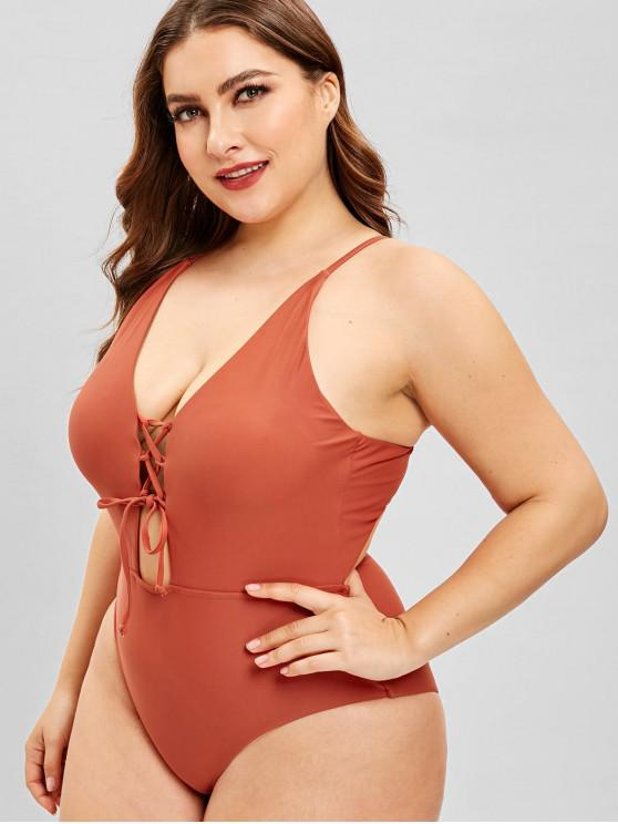 995f418600 29% OFF  2019 ZAFUL Plus Size Lace Up Backless Swimsuit In MAHOGANY ...
