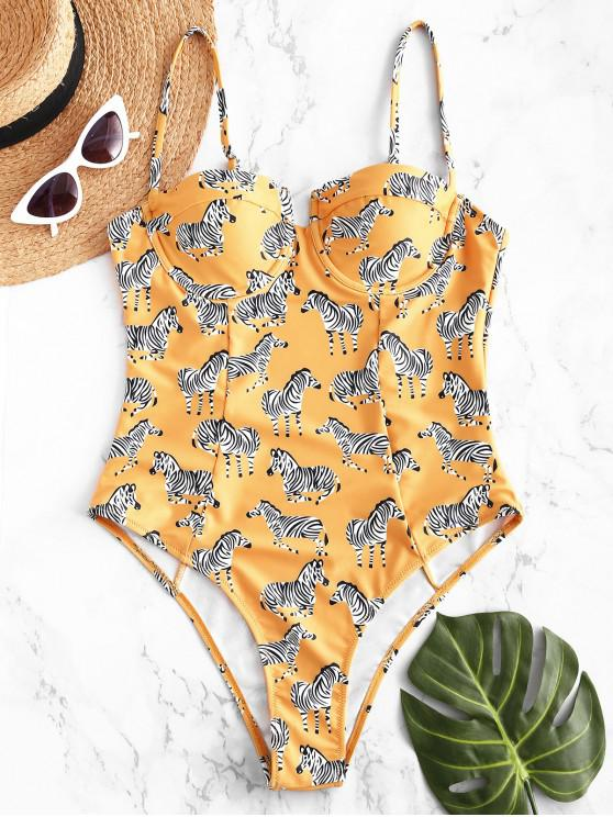 ZaFul Zebra Cami Underwire Push Up Swimsuit - Vara de Ouro S