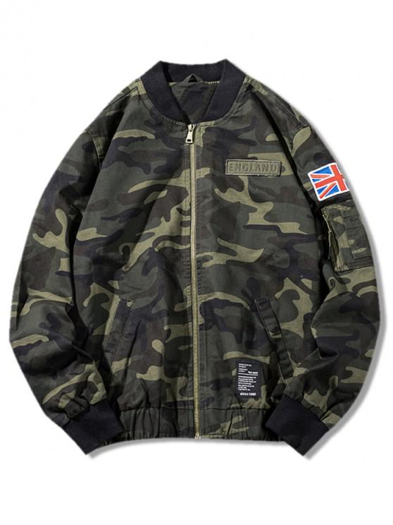 affordable Camo Zip Up Bomber Jacket - CAMOUFLAGE GREEN XS