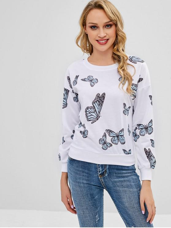 womens Butterfly Print Sweatshirt - WHITE XL