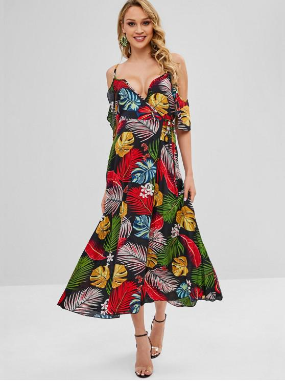 unique Floral Leaves Wrap Maxi Dress - MULTI M